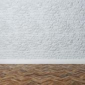 Empty Interior - Brick Wall With Decorative Stone And Hardwood