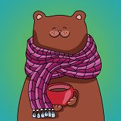 Vector bear with scarf and cup of coffee tea cocoa
