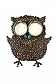image of coffee crop  - Coffee cups and Coffee beans Shaped like the Owl - JPG