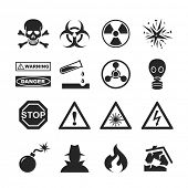 Danger and warning icons. Raster version