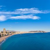 Benidorm alicante skyline high angle view of Poniente beach playa at spain