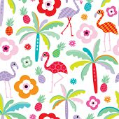 pic of flamingo  - Seamless tropical flamingo and palm tree beach pattern illustration for kids background in vector - JPG