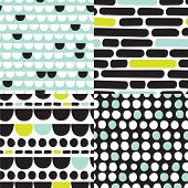 Seamless organic retro basic pastel geometric repeat pattern scandinavian style in vector