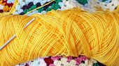 Bright Yellow Skein Of Yarn