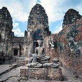 Lopburi Thailand. Prang Sam Yot temple. Khmer ancient Buddhist pagoda ruins are Thai famous tourist