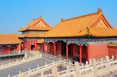 Pagoda architecture in Forbidden City in Beijing, China.