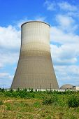 stock photo of reactor  - Close up image of a nuclear reactor chimney which now awaits demolition in Germany - JPG