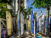Surfboard storage on Waikiki