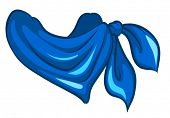 Illustration of a blue scarf on a white background