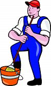 Janitor Cleaner Holding Mop Bucket Cartoon
