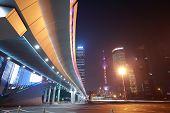 Shanghai Modern City Landmark Background Night View Of Traffic