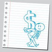 Businessman carrying dollar sign