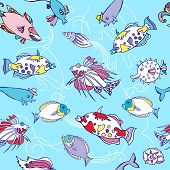 Seamless pattern  with color fishes and waves
