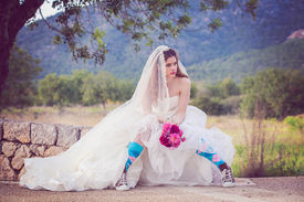 foto of runaway  - young fashion jilted runaway bride - JPG