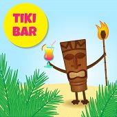image of tiki  - happy tiki welcoming guests with cocktail in his hand - JPG
