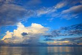 stock photo of sea-scape  - beautiful blue sky with cloud scape over blue ocean use as natural background backdrop - JPG