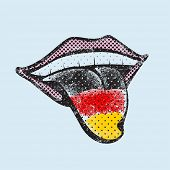 German flag tongue. German language concept. German tongue.