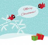Birds In Winter Forest Wish Merry Christmas