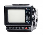 picture of televisor  - Vintage small portable color TV set with radio on white background - JPG