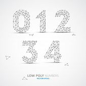 Blue Vector low poly (wired) numbers font with shadow