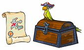 Pirate map, chest and parrot.