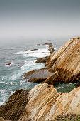 Waves on a foggy calif coastline