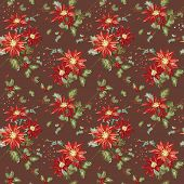 Retro Christmas Seamless Background - Vintage Poinsettia - in vector