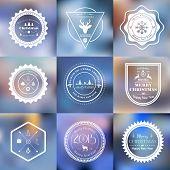 Christmas badges set on blurred background