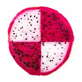Concept Of Part Slice Red And White Dragon Fruit, Pitaya Or Cactus Is Isolated On White Background