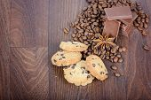 Cookies, coffee beans and chocolate