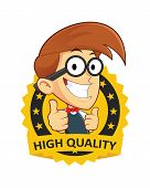 stock photo of geek  - Clipart Picture of a Nerd Geek Cartoon Character with Guarantee icon - JPG