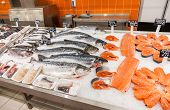 Samara, Russia - October 26, 2014: Raw Fish Ready For Sale In The Supermarket Magnit. One Of Largest