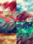 Set of colorful backgrounds made of bright dots of different color