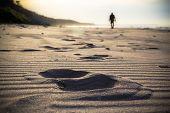 Nordic Walking Sport Run Walk Motion Blur Outdoor Person Legs Track Trace Sand Beach Sea Figure