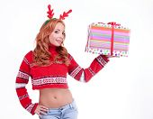 Beautiful Blonde Woman With Reindeer Antlers
