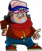 Cartoon Character Guy In A Cap, Scarf And Sunglasses Standing In Pose.eps