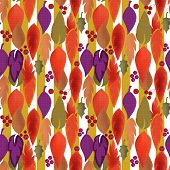 Seamless Background Pattern With Colorful Autumn Leaves And Berry