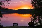Sunset At Kuusamo Lake In Finland.