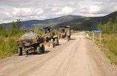 Road Service At Gravel Road Kolyma Highway At Yakutia
