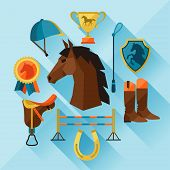 Icon set with horse equipment in flat style.