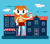 Happy smiling hipster geek cartoon girl character with icecream at city street background flat desig