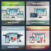 Set Of Flat Design Concepts