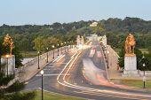 Washington DC, Arlington Memorial Bridge in early morning lights