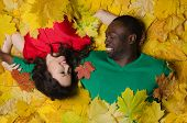 Beautiful Asian Girl And Black On Autumn Leaves