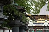 Temple and stone lanterns