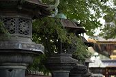 stone lanterns in a temple of Tokyo.