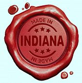 Made in Indiana red wax seal or stamp, quality label