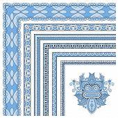 blue colour floral vintage frame design