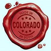Made in Colorado red wax seal or stamp, quality label