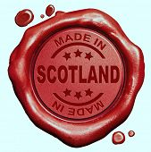 Made in Scotland red wax seal or stamp, quality label